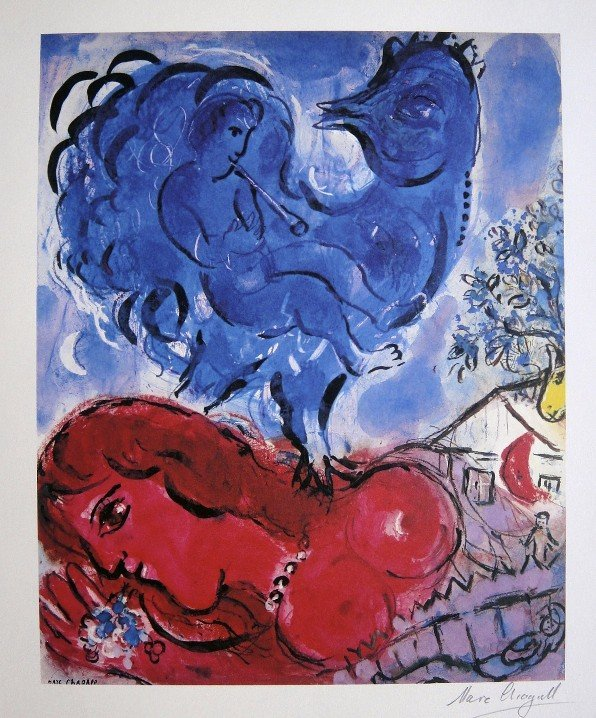 4: MARC CHAGALL, Hand Signed Lithograph, 1975