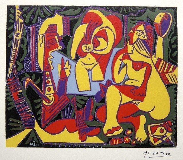 """5: Pablo PICASSO • Woodcut """"Le Déjeuner sur l'Herbe"""" •"""