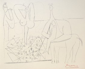 PABLO PICASSO, Hand Signed Lithograph, Picasso In A
