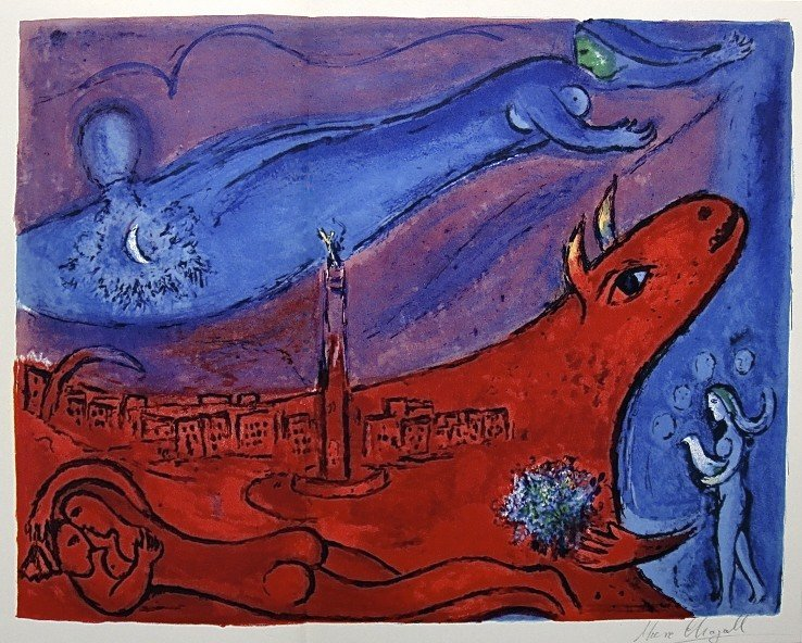 22: MARC CHAGALL, Hand signed Lithograph, 1957
