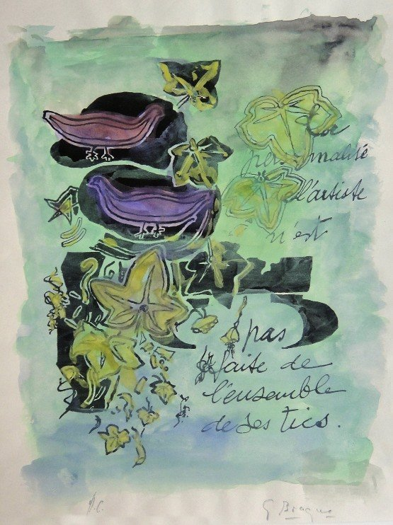 88: GEORGES BRAQUE, Hand colored and signed Lithograph,