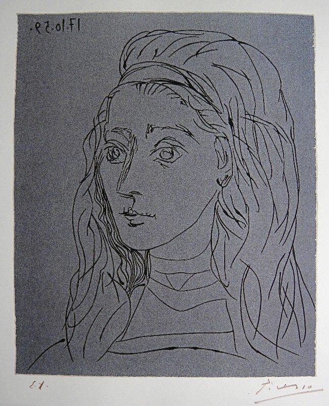 90: PABLO PICASSO, Jacqueline, Original Lithograph hand