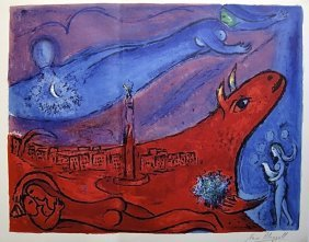 17: MARC CHAGALL, Hand signed Lithograph, 1957