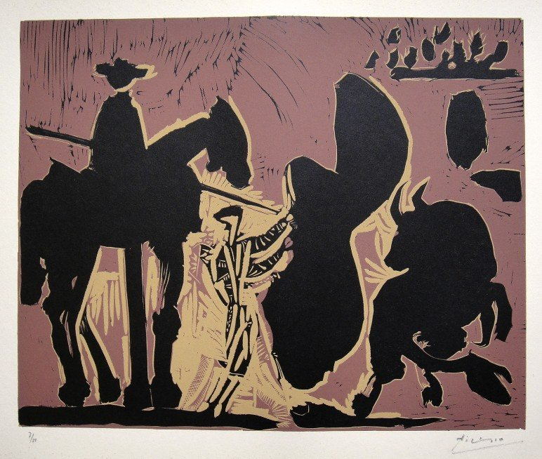 61: PABLO PICASSO, Hand signed Linocut, 1962