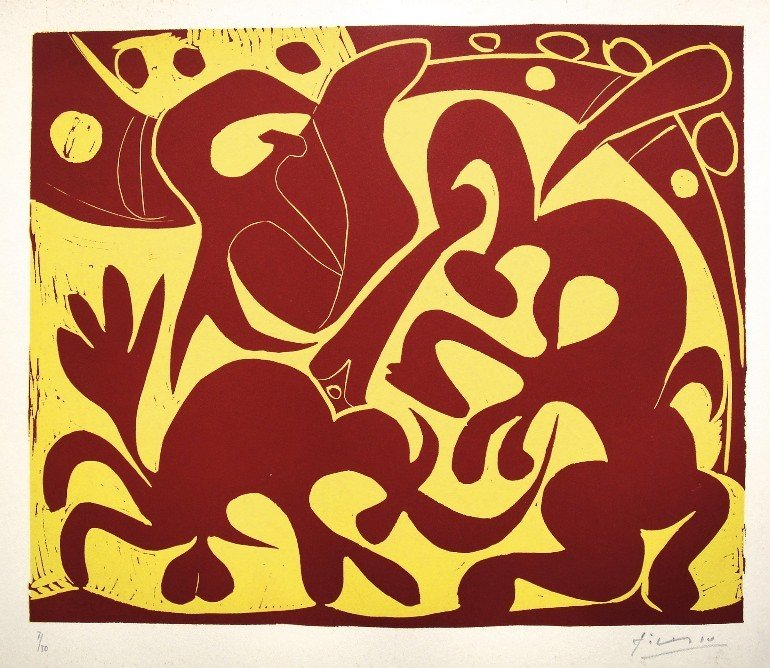 62: PABLO PICASSO, Hand signed Linocut, 1962