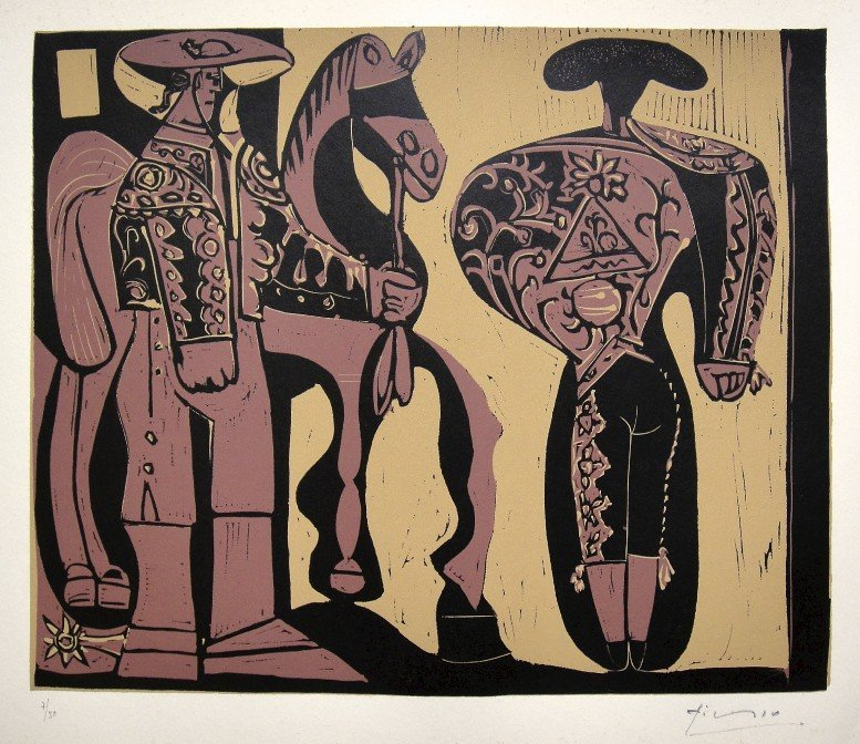 63: PABLO PICASSO, Hand signed Linocut, 1962