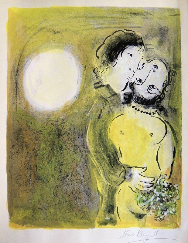 """71: Marc CHAGALL, Signed Original Lithograph, """"Les amou"""