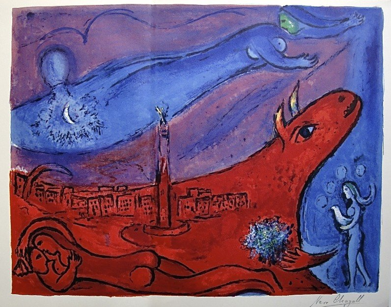 72: MARC CHAGALL, Hand signed Lithograph, 1957