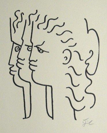 Jean COCTEAU, Signed Lithograph, 1958