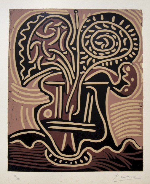 PABLO PICASSO, Hand signed Linocut, 1962