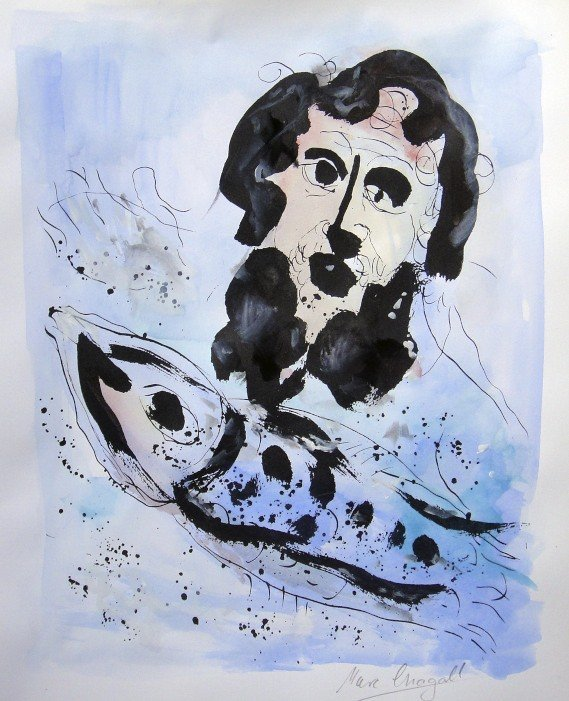 MARC CHAGALL, Hand colored and signed Lithograph, 1975