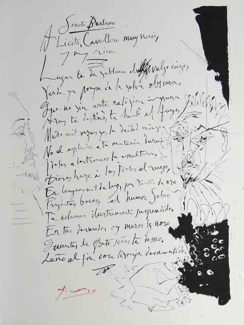 "PABLO PICASSO, signed Lithograph ""Gongora-Soneto X"", 19"