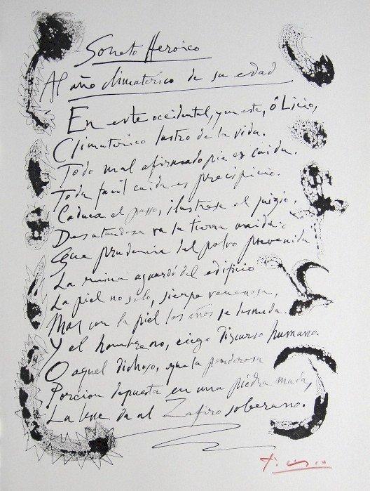 "PABLO PICASSO, signed Lithograph ""Gongora-Soneto X"""