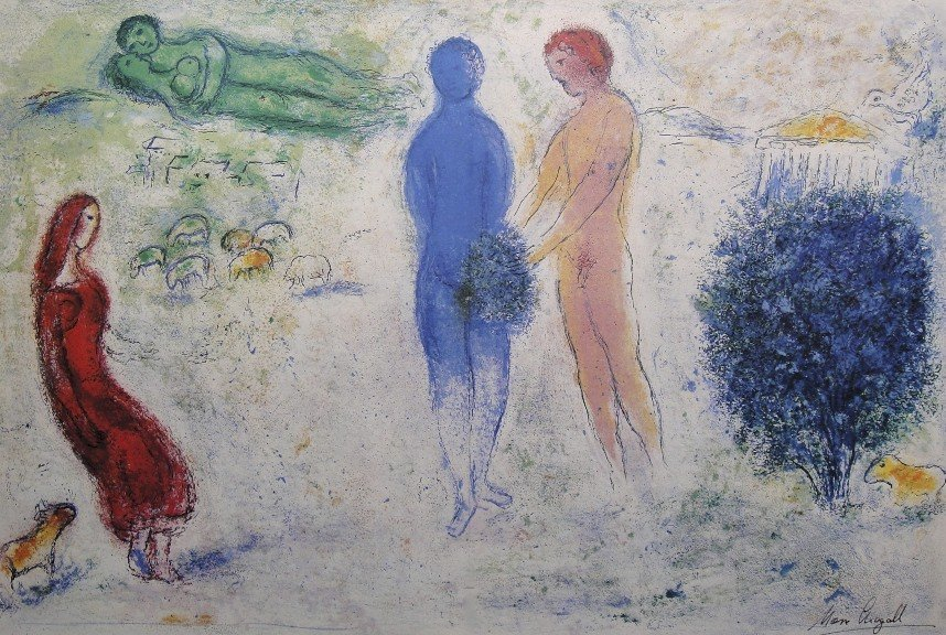 """Marc Chagall, signed Lithograph """"Daphnis and Chloe"""""""