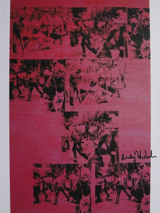 ANDY WARHOL, Signed Print, Red Race Riot