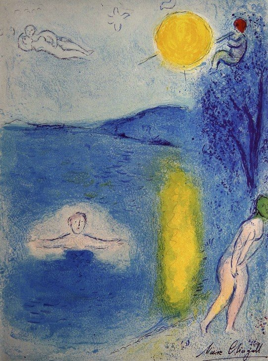 "Marc Chagall, signed Lithograph ""Daphnis and Chloe"""