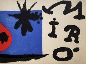 JOAN MIRO, Hand signed Lithograph 1954
