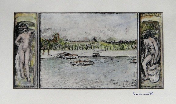 PIERRE BONNARD, hand colored and signed Lithograph