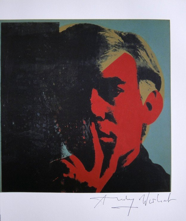 "ANDY WARHOL, ""Self-Portrait"" signed Print, 1982"
