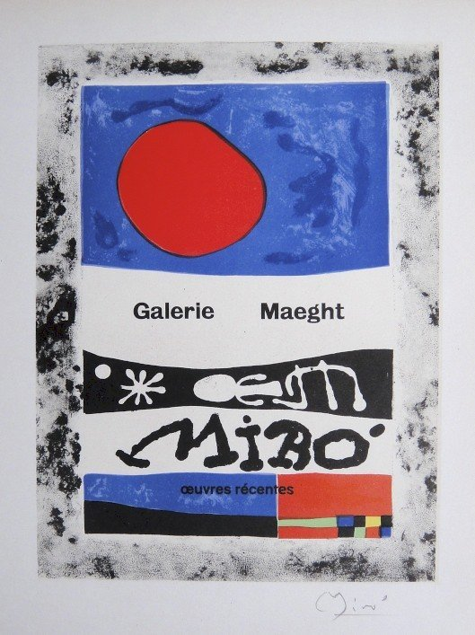 Joan Miro Lithograph Ecole de Paris 1958