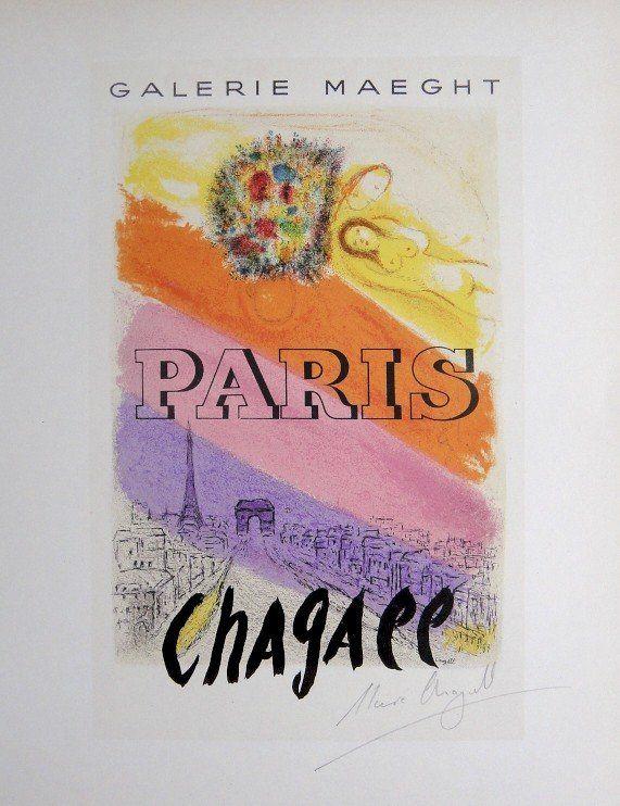 Marc Chagall Lithograph Ecole de Paris 1952