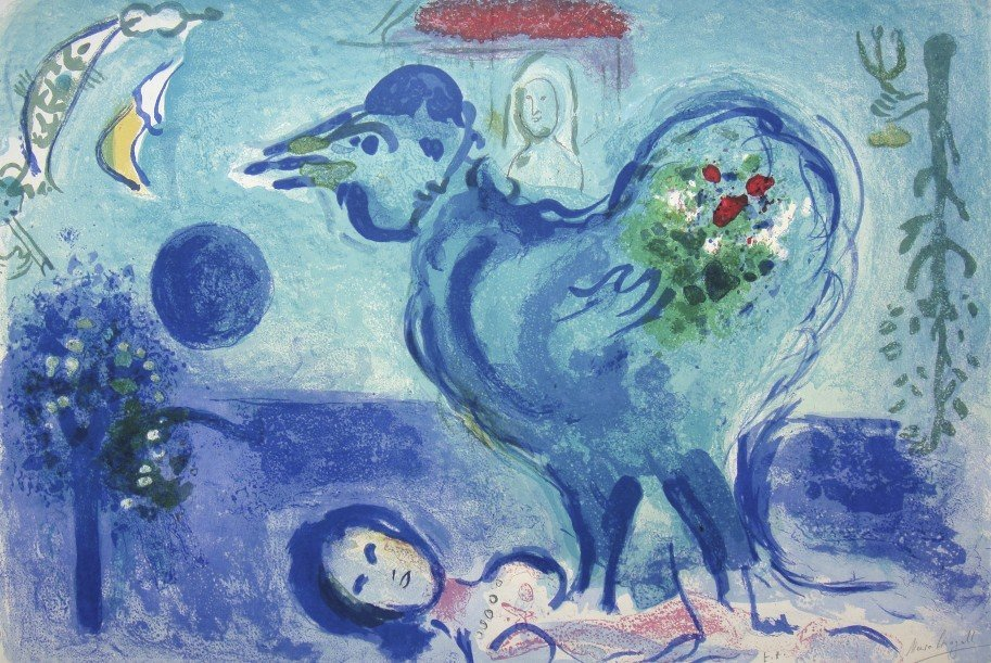 Marc CHAGALL, hand signed original Lithograph, 1958