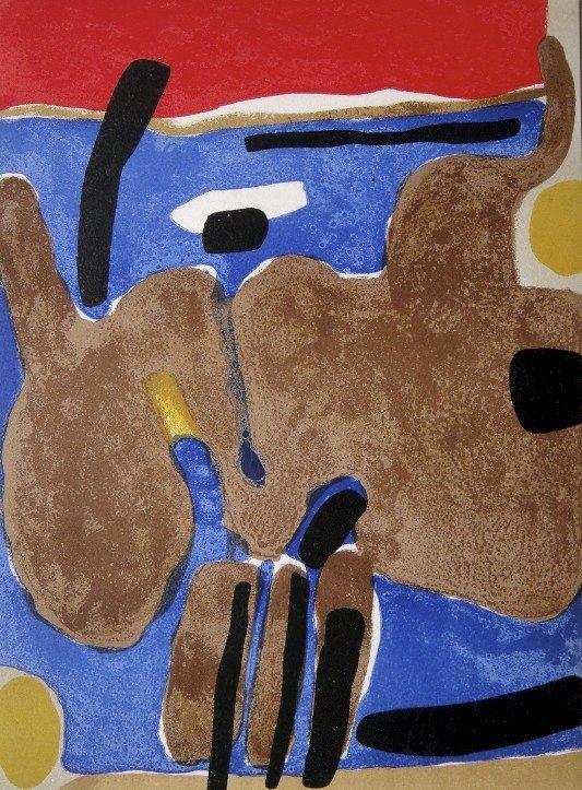 """Maurice ESTEVE, original Lithograph """"Composition"""" 1963"""