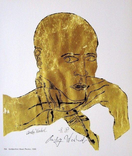ANDY WARHOL, Signed Print Goldportrait Stuart Preston,