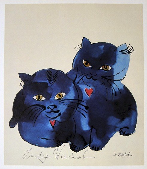 ANDY WARHOL, Signed Print Blue Cats, 1982