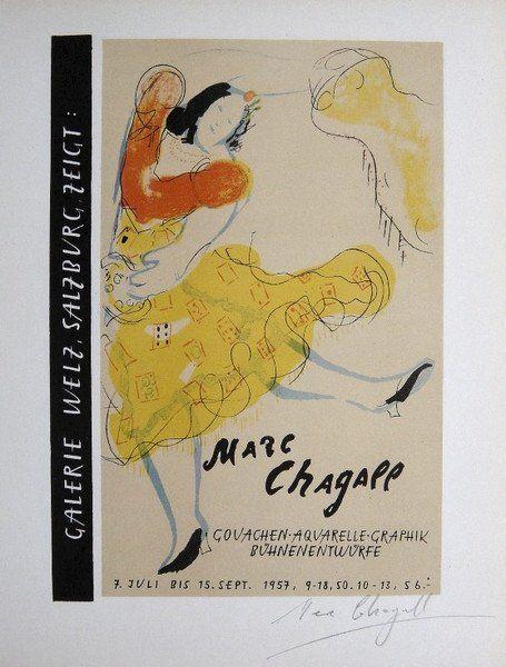 Marc Chagall Lithograph Ecole de Paris 1958