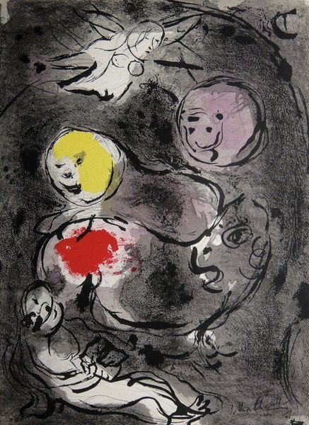 """Marc CHAGALL """"Prophet Daniel with the lions"""" signed"""