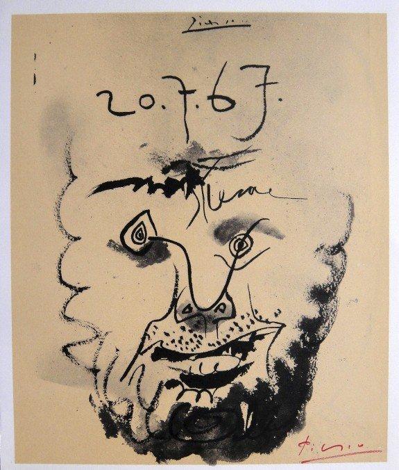 Pablo Picasso signed Print Tete de Homme, 1969