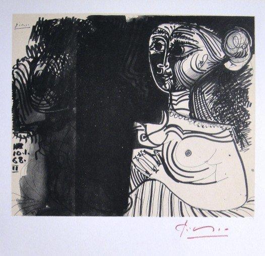 Pablo Picasso signed Print Buste de Femme, 1969