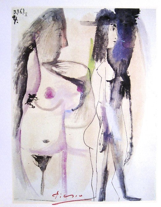 Pablo Picasso signed Print Figures nues, 1969