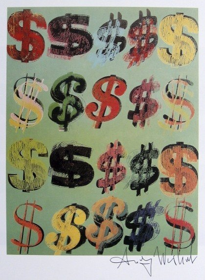 Andy Warhol, signed Print, Dollar Signs, 1986