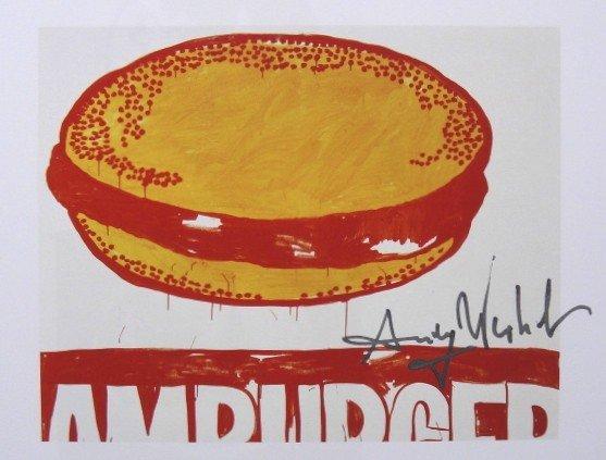Andy Warhol, signed Print, Hamburger, 1986