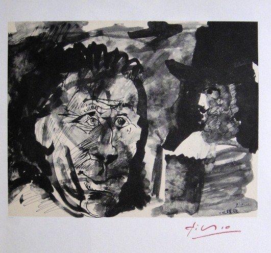 Pablo Picasso signed Print Tetes de Hommes, 1969