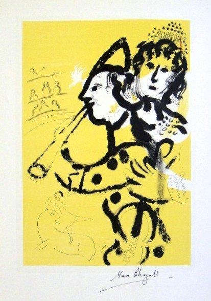 "Marc CHAGALL, ""Le Clown MusicienÓ original Lithograph"
