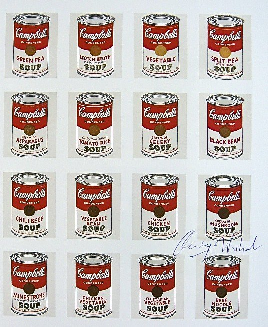 Andy Warhol, signed Print, Campbell's Soup Cans, 1986