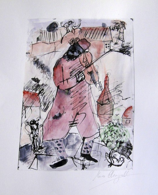 MARC CHAGALL, signed and colored lithograph 1975