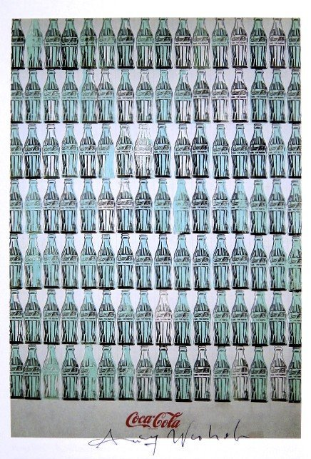 Andy Warhol, signed Print, Green Coca-Cola Bottles,