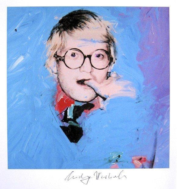 Andy Warhol, signed Print, David Hockney, 1986