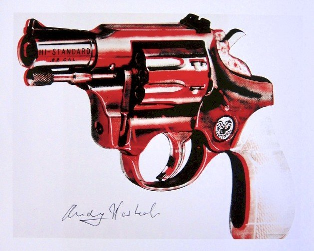 Andy Warhol, signed Print, Gun, 1986