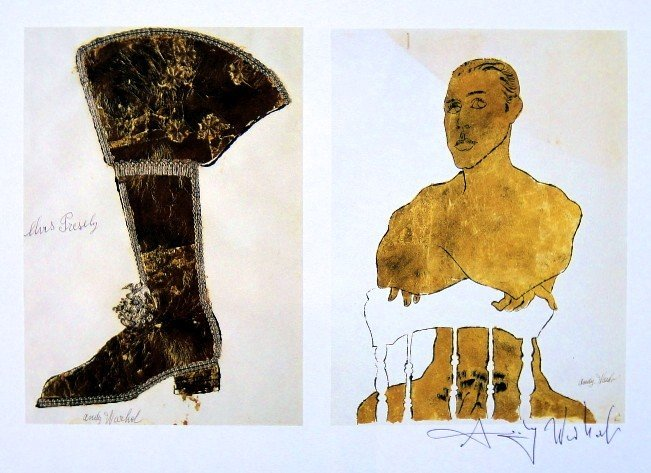 Andy Warhol, signed Print, Gold Boot, Seated Male, 1986