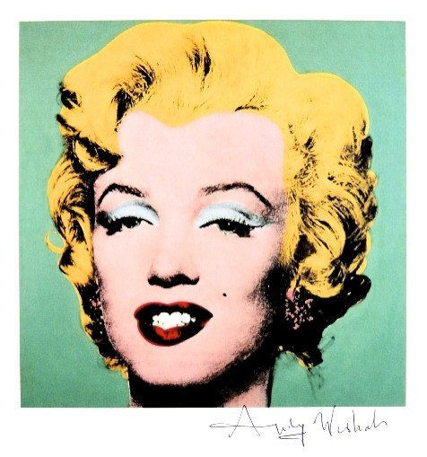 Andy Warhol, signed Print, Turquoise Marilyn, 1986