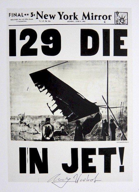 Andy Warhol, signed Print, 129 DIE IN JET, 1986