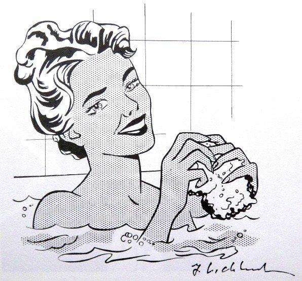 Roy LICHTENSTEIN, signed Print, Girl in bath, 1975