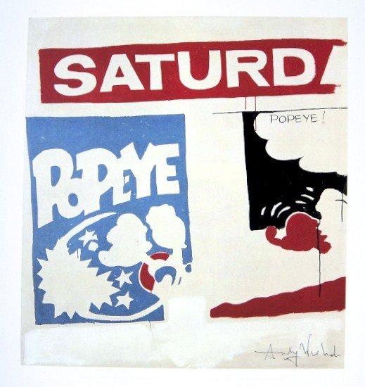 Andy Warhol, signed Print, Saturday's Popeye, 1986