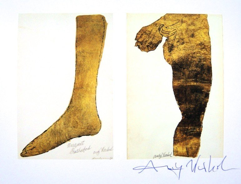Andy Warhol, signed Print, Gold Foot, Gold Bottom, 1986