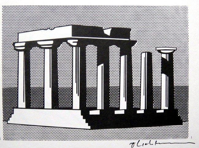 Roy LICHTENSTEIN, signed Print, Landscape with columns,